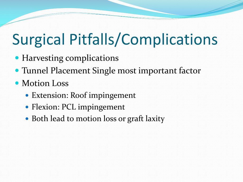 Surgical Pitfalls/Complications