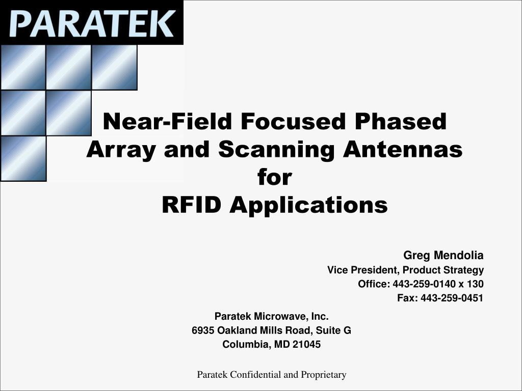 near field focused phased array and scanning antennas for rfid applications l.