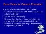 basic rules for general education