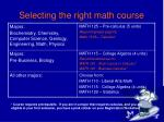 selecting the right math course