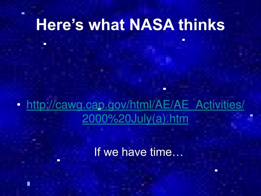 Here's what NASA thinks