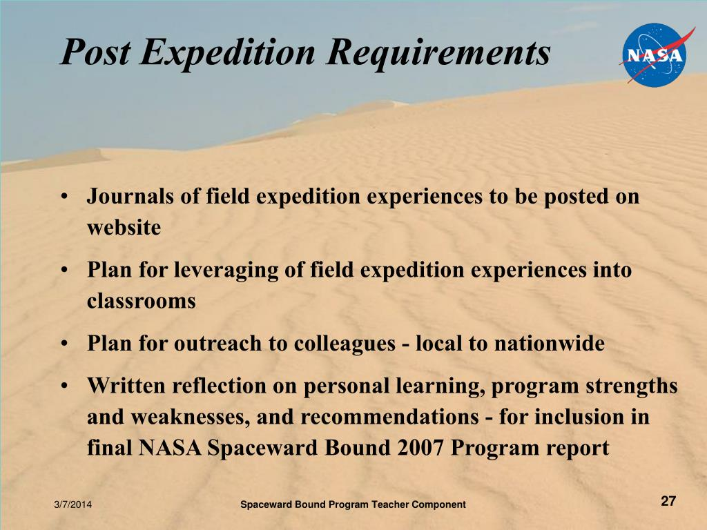 Post Expedition Requirements