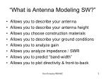what is antenna modeling sw