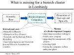 what is missing for a biotech cluster in lombardy