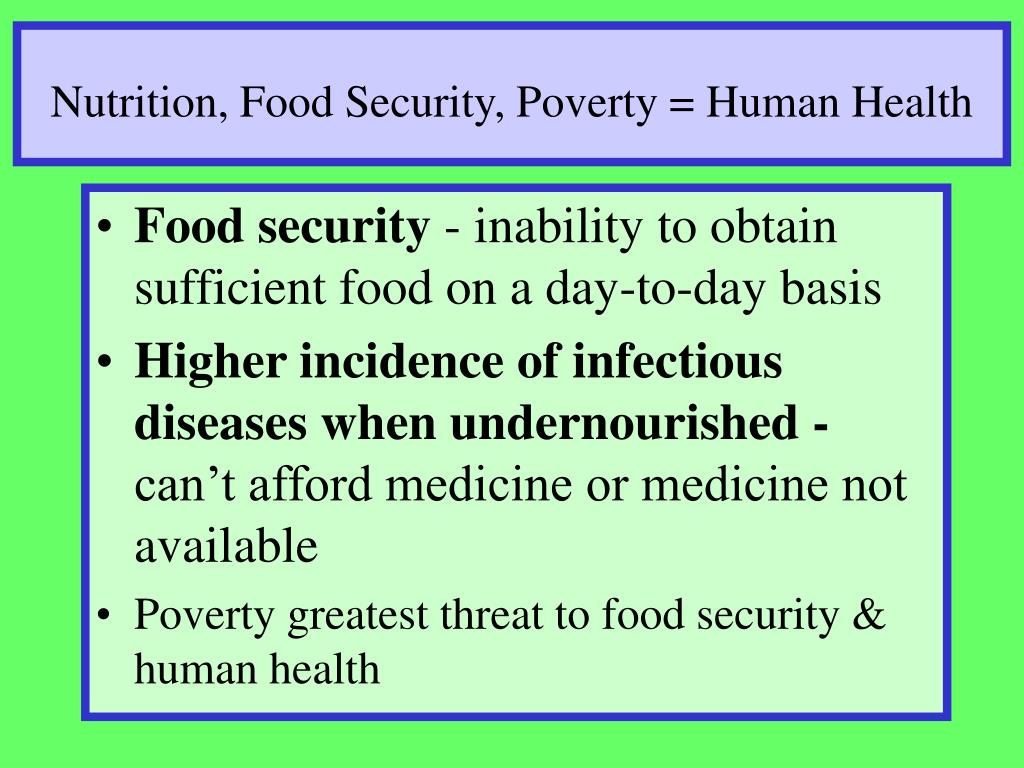 Nutrition, Food Security, Poverty = Human Health