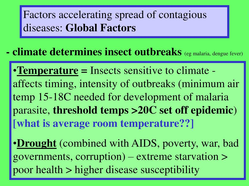 Factors accelerating spread of contagious diseases: