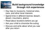 build background knowledge through rich experiences