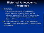 historical antecedents physiology