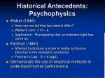 historical antecedents psychophysics