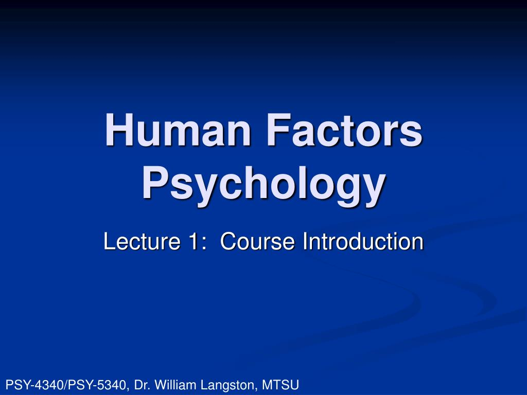 human factors psychology l.