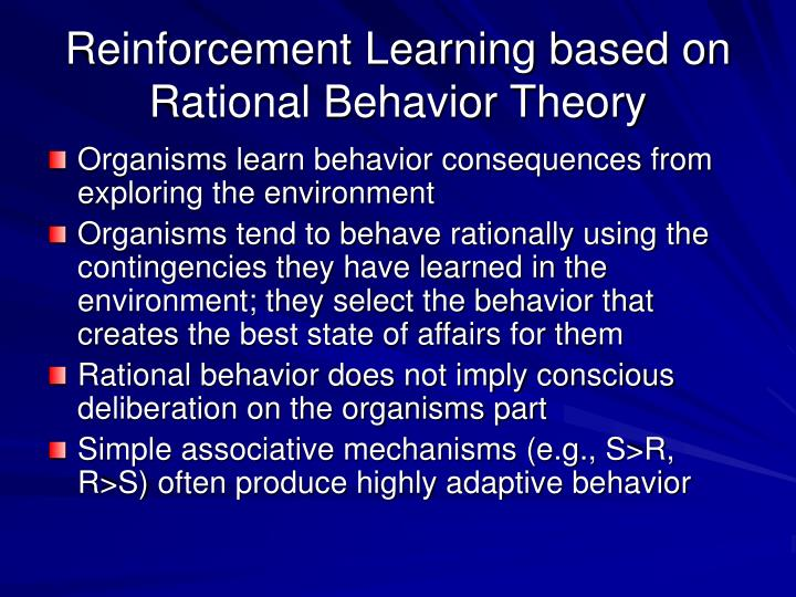 Reinforcement learning based on rational behavior theory