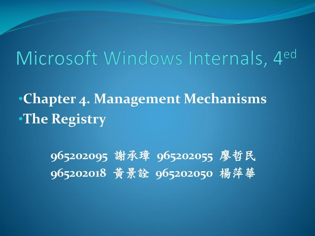 microsoft windows internals 4 ed l.