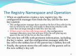 the registry namespace and operation80