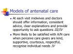 models of antenatal care