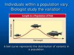 individuals within a population vary biologist study the variation