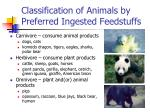 classification of animals by preferred ingested feedstuffs