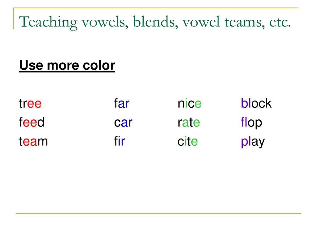 Teaching vowels, blends, vowel teams, etc.