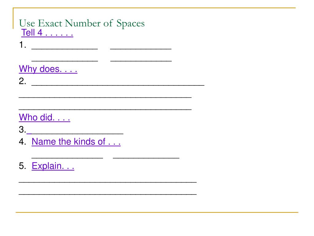 Use Exact Number of Spaces