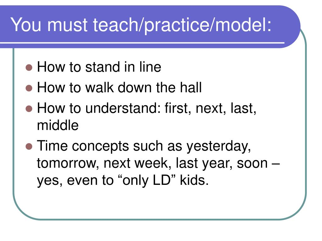 You must teach/practice/model: