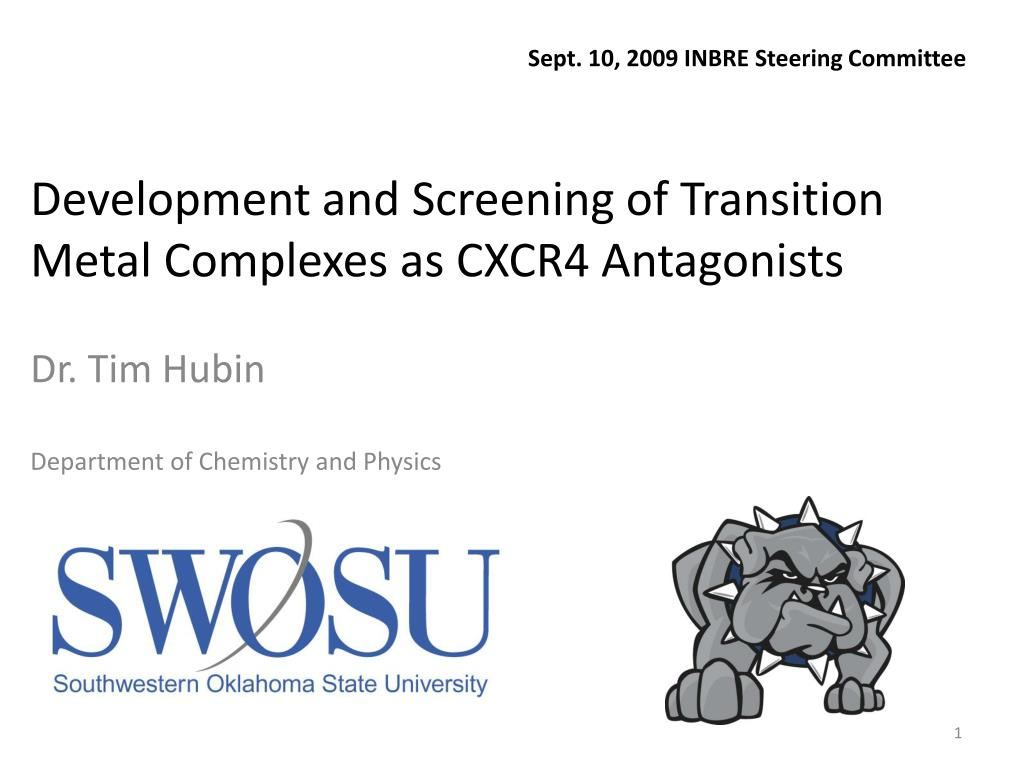 development and screening of transition metal complexes as cxcr4 antagonists l.