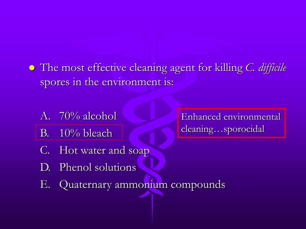 The most effective cleaning agent for killing