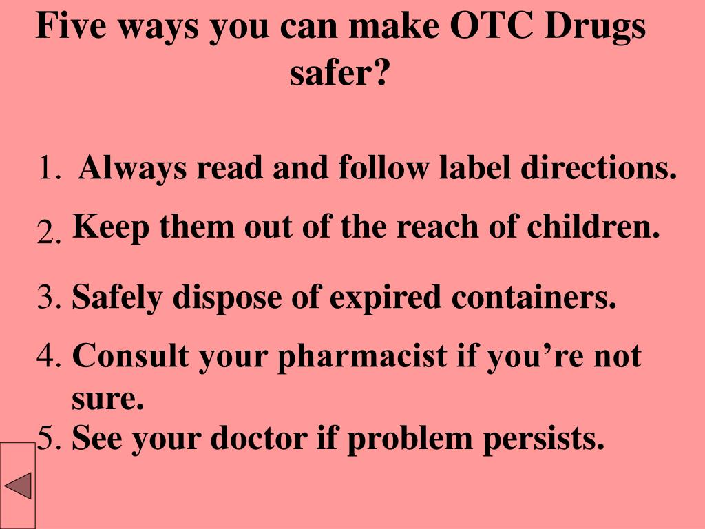 Five ways you can make OTC Drugs safer?