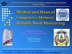 method and mean of computer s memory reliable work monitoring