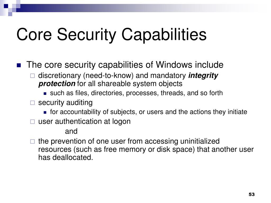 Core Security Capabilities