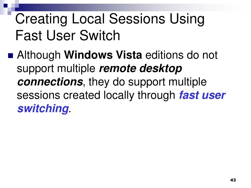 Creating Local Sessions Using Fast User Switch