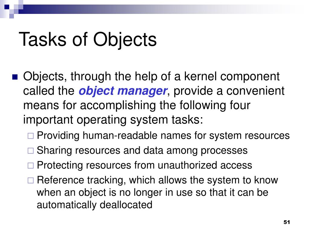 Tasks of Objects