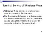 terminal service of windows vista