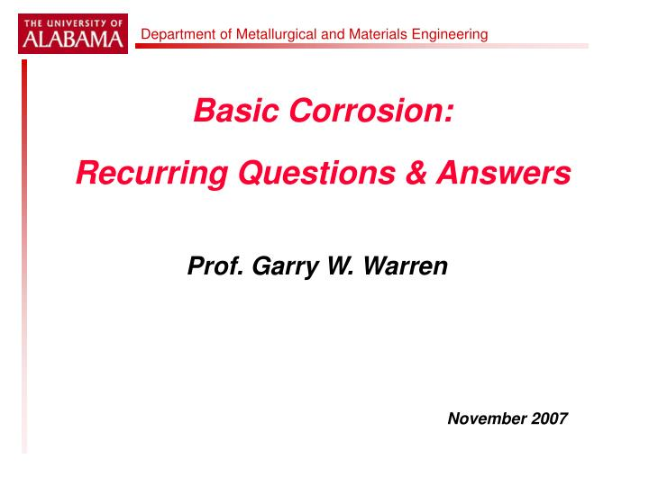 basic corrosion recurring questions answers n.