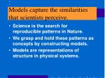 models capture the similarities that scientists perceive