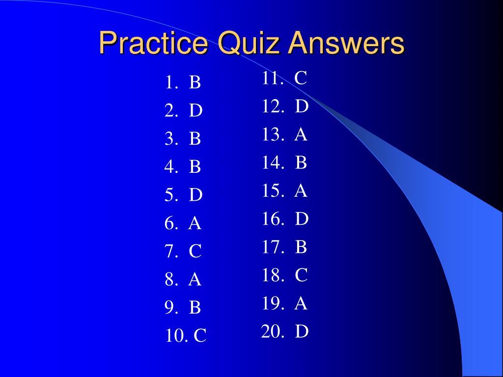 practice quiz answers l.