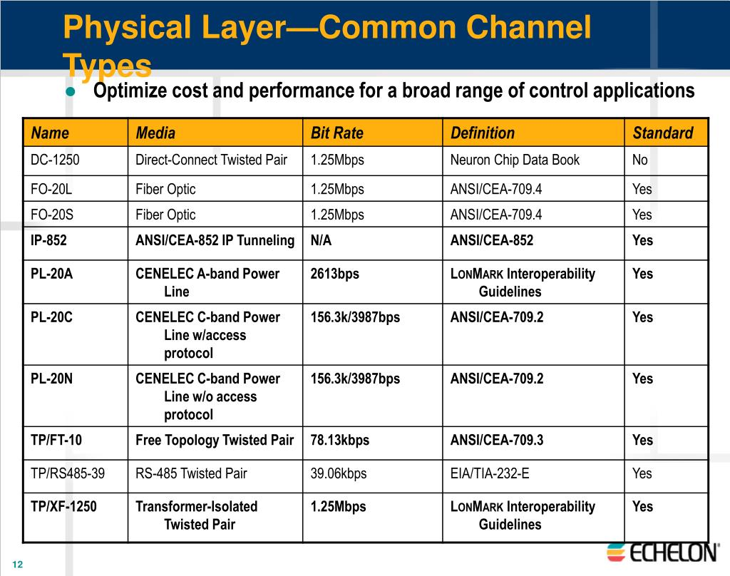 Physical Layer—Common Channel Types