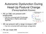 autonomic dysfunction during head up postural change parasympathetic excess