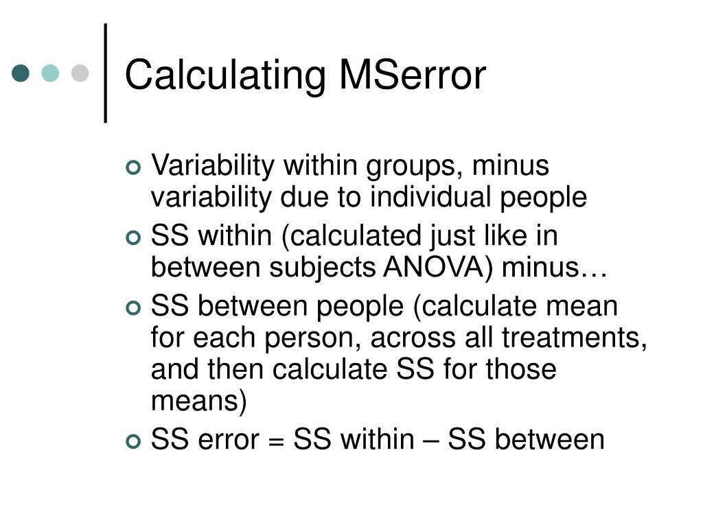 Calculating MSerror