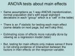 anova tests about main effects