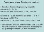 comments about bonferroni method
