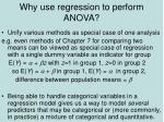 why use regression to perform anova