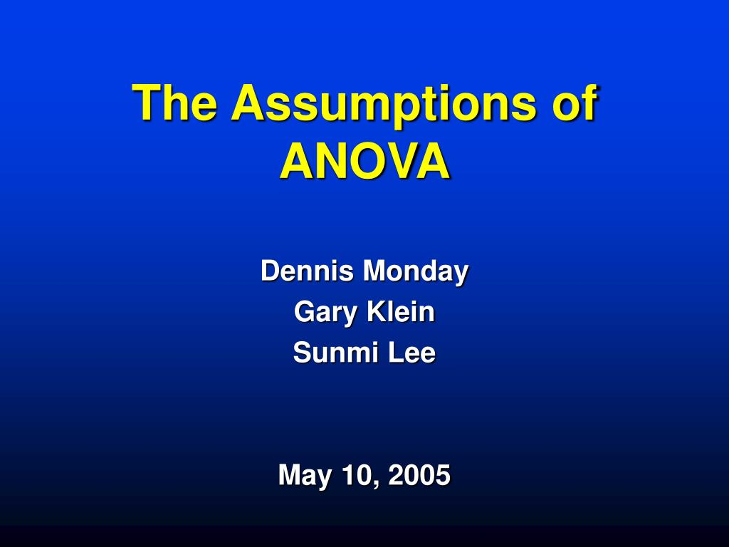 the assumptions of anova l.