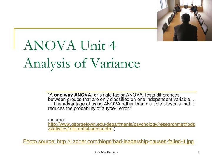 Anova unit 4 analysis of variance