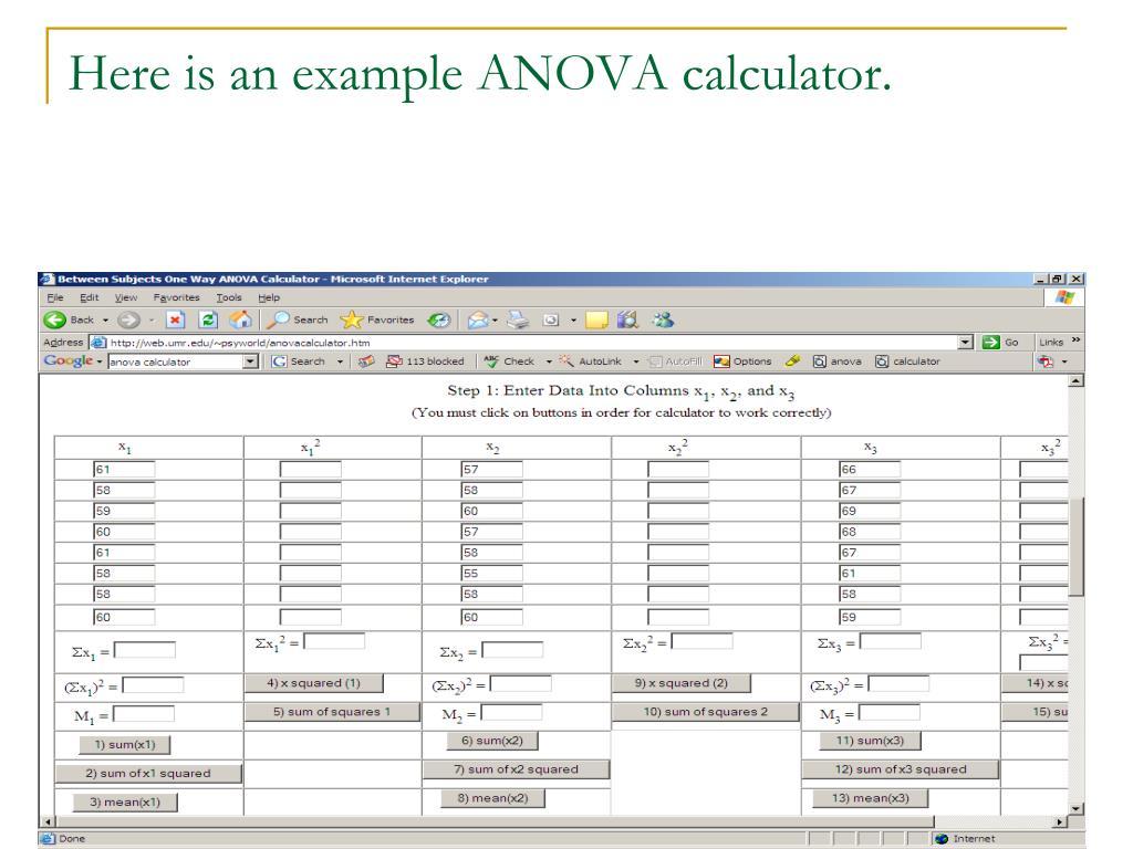 Here is an example ANOVA calculator.