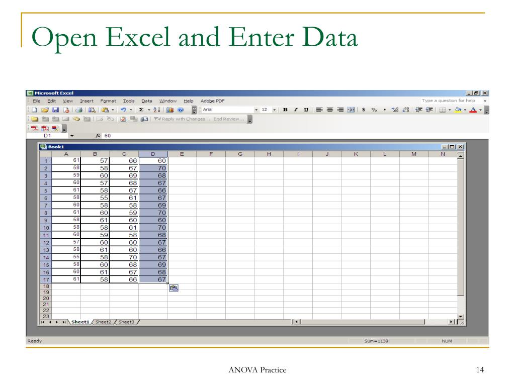 Open Excel and Enter Data
