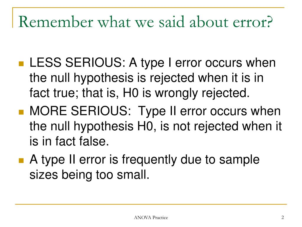 Remember what we said about error?