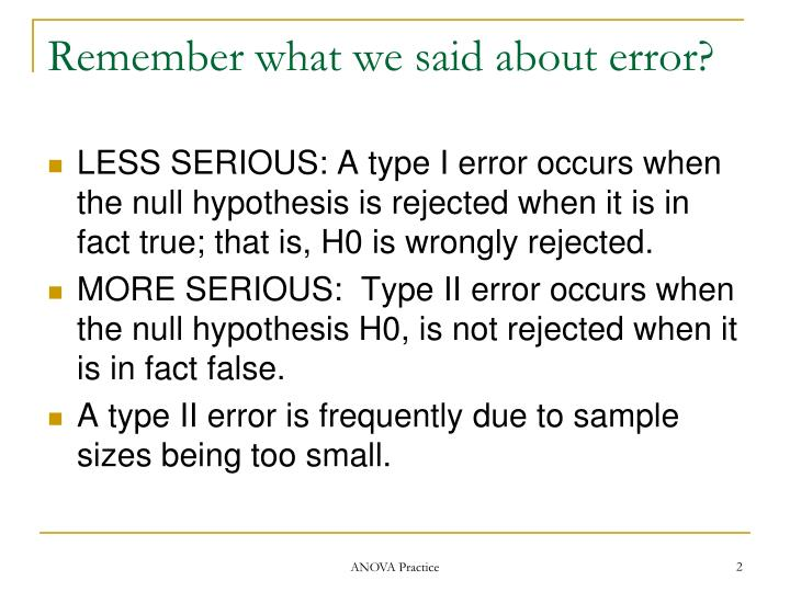 Remember what we said about error