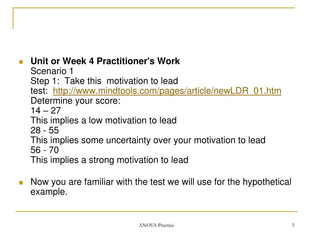 Unit or Week 4 Practitioner's Work