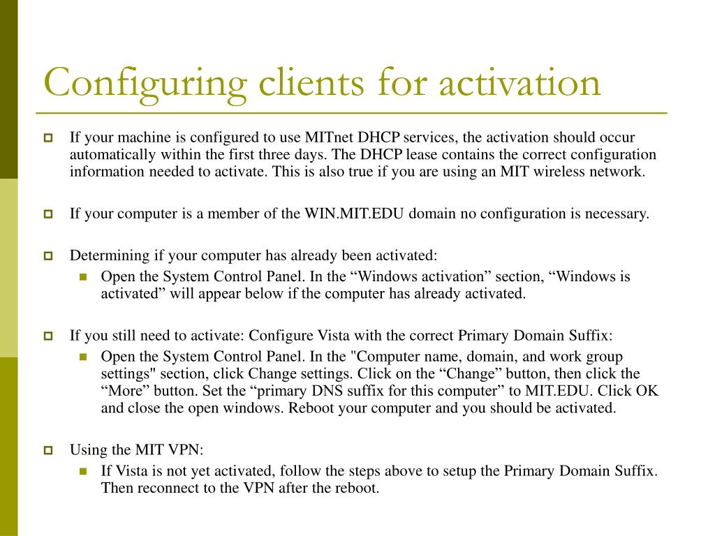 Configuring clients for activation