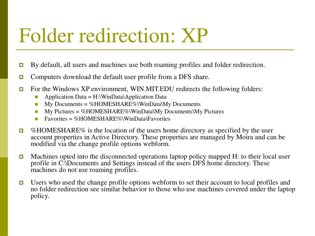 Folder redirection: XP