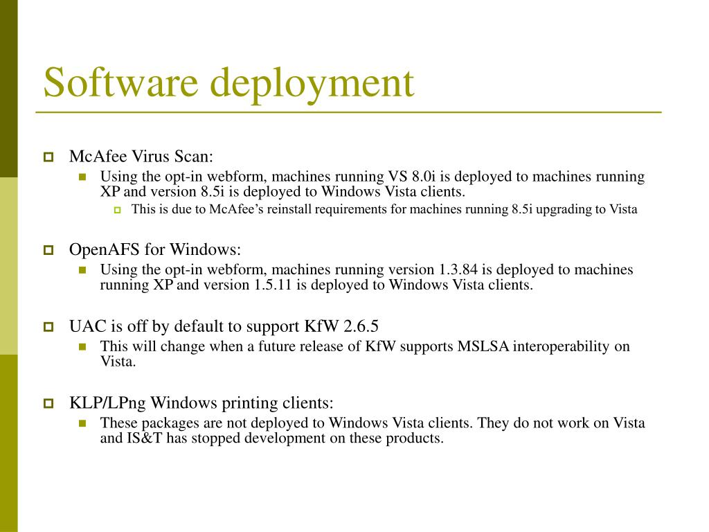Software deployment